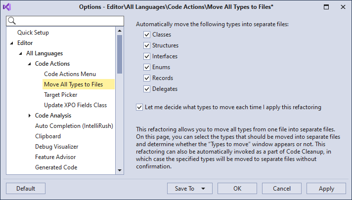 Refactorings - Move All Types to Files - Options