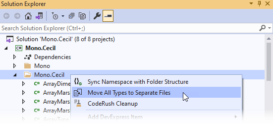 Refactorings - Move All Types to Files - Solution Explorer Menu